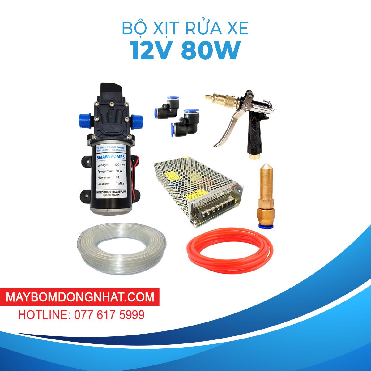 Bộ Rửa Xe Mini 12V 80W Súng Áp Lực