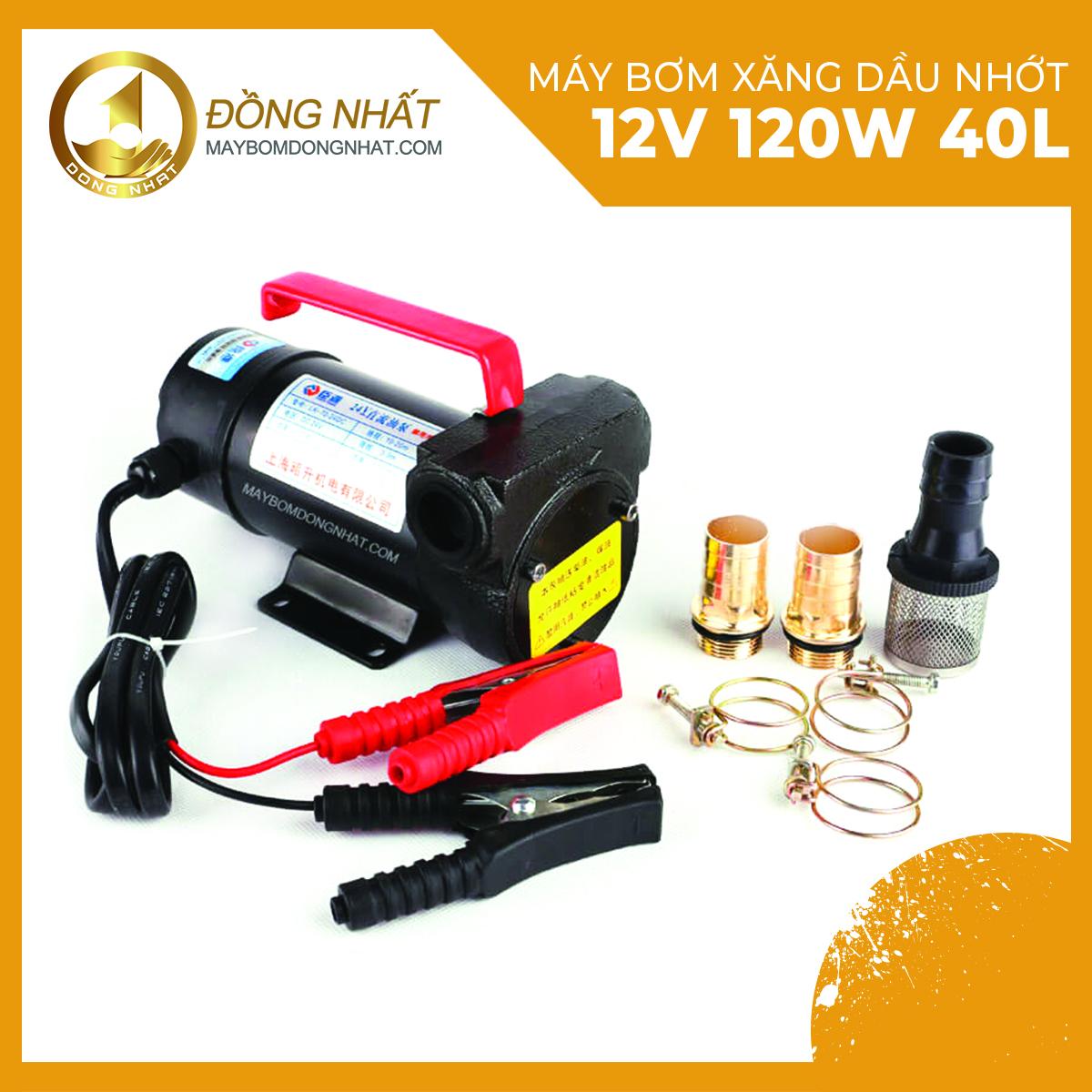 máy bơm xăng dầu nhớt inox 12v 120w 40l