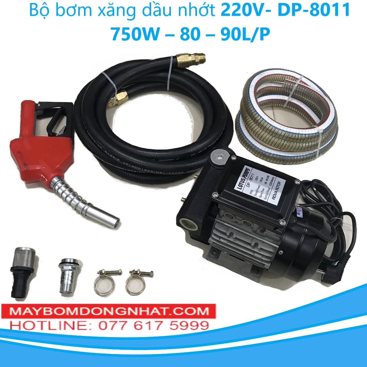Bộ bơm xăng dầu nhớt DP-8011 220V-750W – 80 – 90L/P