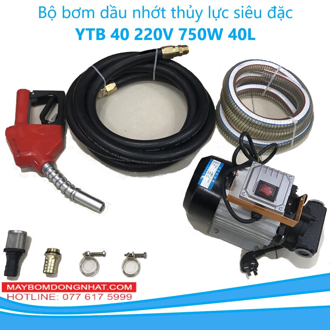 Bộ bơm dầu nhớt thủy lực siêu đặc YTB 40 220V-750W-40L/P