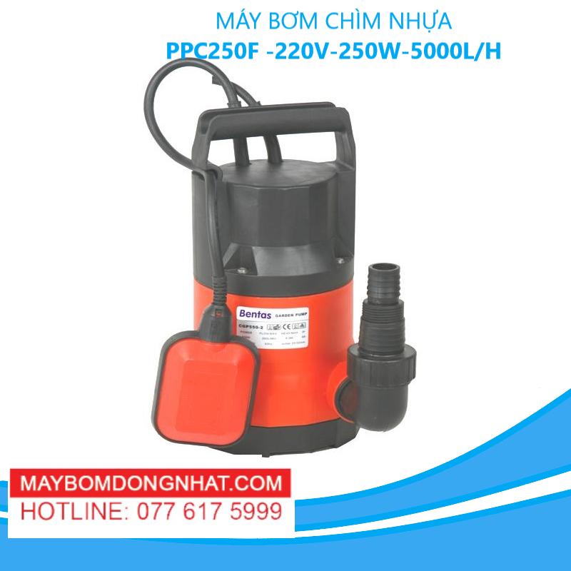 MÁY BƠM CHÌM NHỰA PPC250F -220V-250W-5000L/H(CÓ PHAO)
