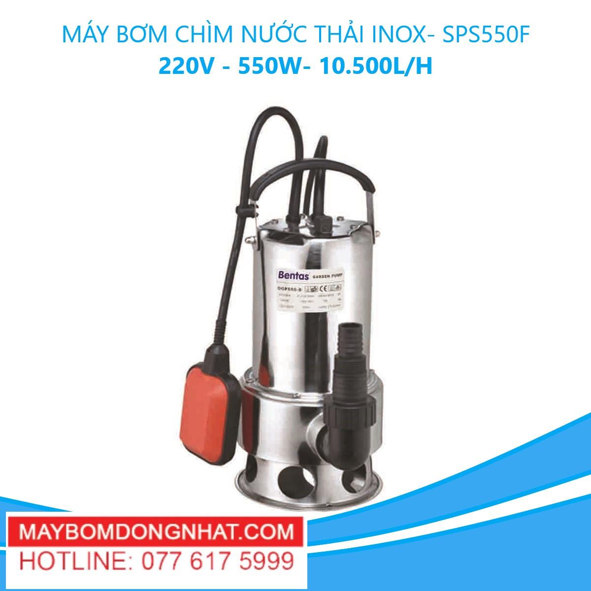 MÁY BƠM CHÌM NƯỚC THẢI INOX- SPS550F 220V – 550W- 10.500L/H(CÓ PHAO)