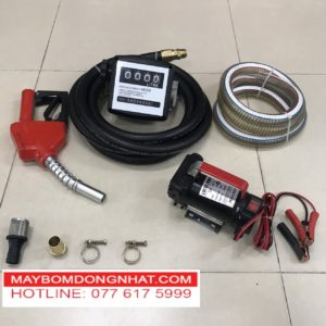 Bộ máy bơm Xăng dầu nhớt 24V-150W-40L/P(Có đồng hồ đo lưu lượng)
