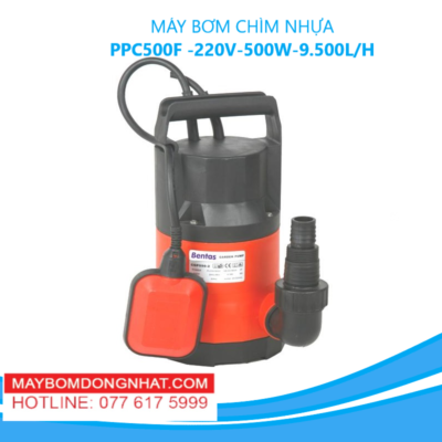 MÁY BƠM CHÌM NHỰA- PPC500F -220V-500W-9.500L/H(CÓ PHAO)