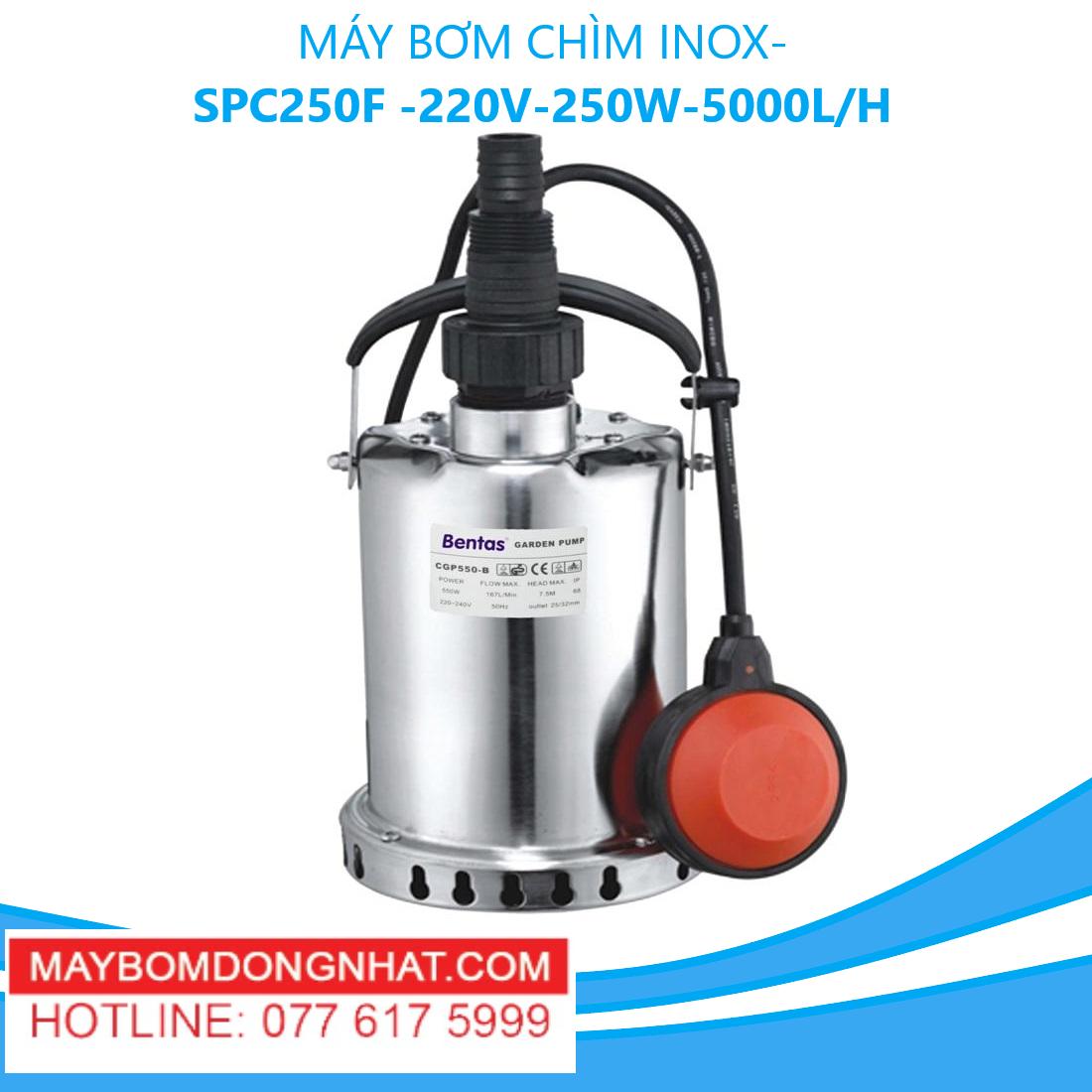 MÁY BƠM CHÌM INOX- SPC250F -220V-250W-5000L/H(CÓ PHAO)