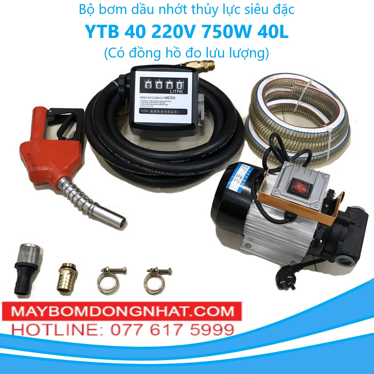 Bộ bơm dầu nhớt thủy lực siêu đặc YTB 40 220V-750W-40L/P(có đồng hồ đo lưu lượng)