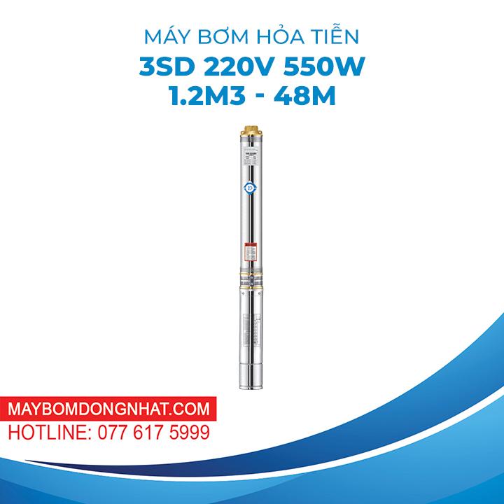 MÁY BƠM HỎA TIỄN 3SD 220V 550W 1.2M3 – 48M