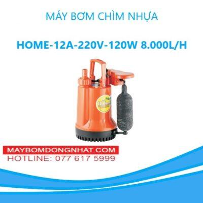 MÁY BƠM CHÌM NHỰA HOME-12A-220V-120W 8.000L/H( Có Phao)