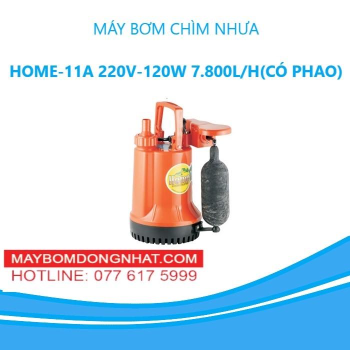MÁY BƠM CHÌM NHỰA HOME-11A 220V-120W 7.800L/H(CÓ PHAO)